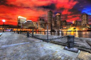 Boston Cityscape at Night 01 - stock photos and royalty-free images