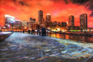 Boston Cityscape at Night 02 - stock photos and royalty-free images