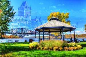 Quebec City Park and Bridge - stock photos and royalty-free images