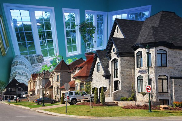 Cozy Neighborhood Photo Montage - stock photos and royalty-free images