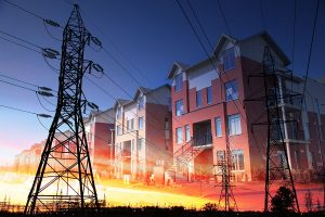 Domestic Energy Lines Photo Montage - stock photos and royalty-free images