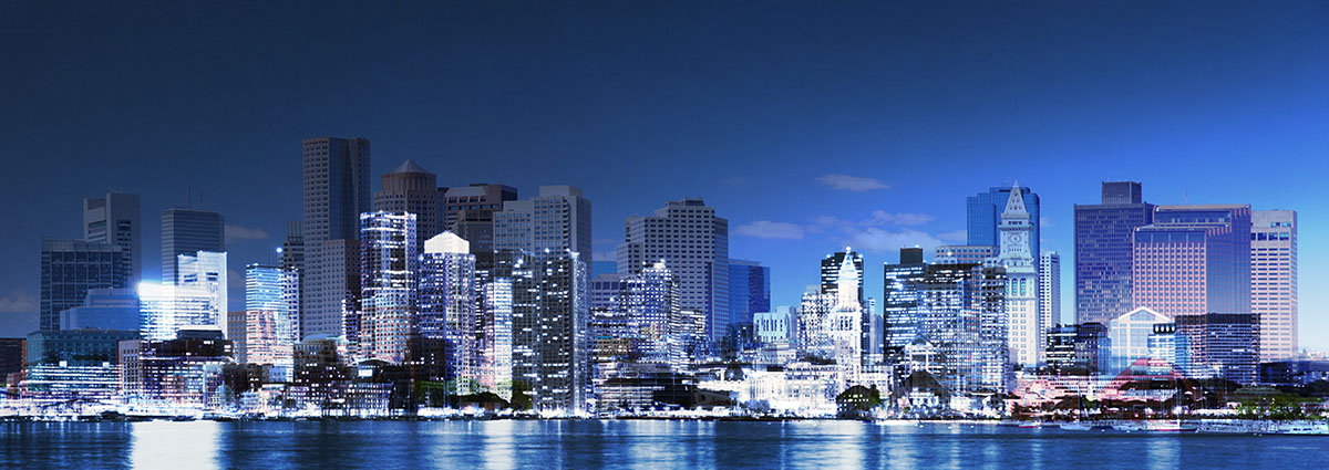 Panoramic Boston City Photo Montage - stock photos and royalty-free images