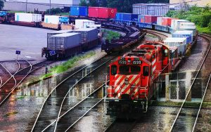 Railroad Transport Concept Photo Montage 01 - stock photos and royalty-free images