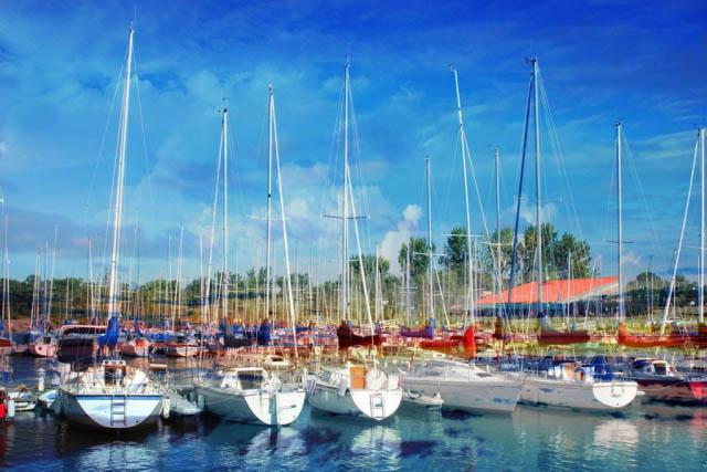 Sail Boats Marina Photo Montage - stock photos and royalty-free images