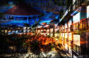 Caribbean Hotel Photo Montage - stock photos and royalty-free images