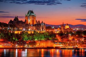 Quebec Frontenac Castle Montage 02 - stock photos and royalty-free images