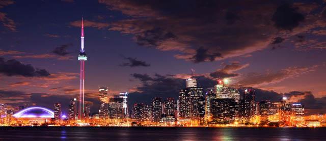 Toronto City Nighttime Skyline - stock photos and royalty-free images