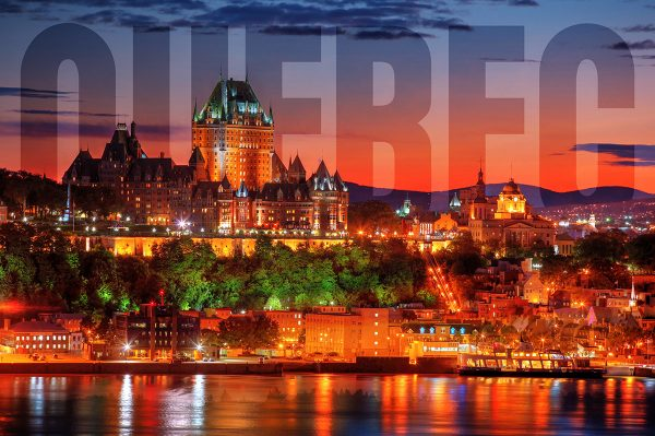 Quebec Frontenac Castle Montage with Text 02 - stock photos and royalty-free images