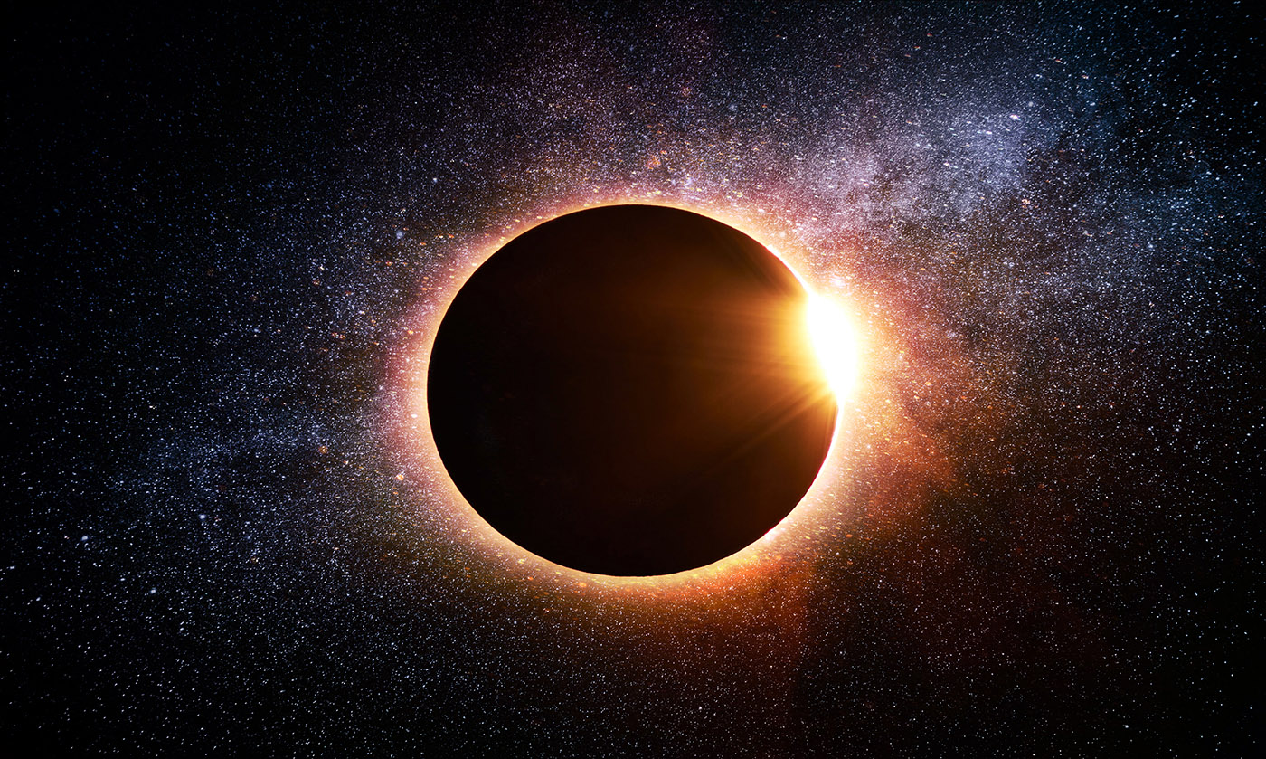 Solar Eclipse in Space - stock photos and royalty-free images