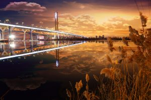 New Champlain Bridge in Montreal City at Night