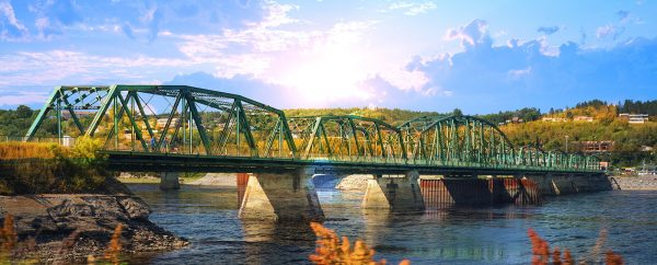 Old Saguenay Bridge and River - stock photos and royalty-free images