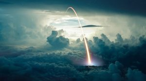 Missile Launch over the Cloudy Sky - stock photos and royalty-free images