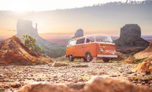 Vintage VW Camper Van Road Trip 01 - stock photos and royalty-free images