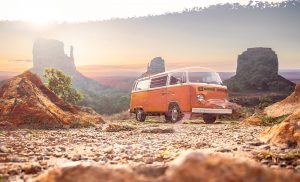 Vintage VW Camper Van Road Trip 01 - stock photos and royalty-free images