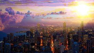 Beautiful Chicago City at Night 01 - stock photos and royalty-free images