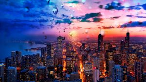 Beautiful Chicago City at Night 02 - stock photos and royalty-free images