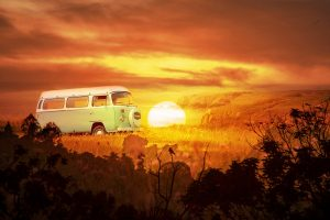 Vintage VW Camper Van Road Trip 05 - stock photos and royalty-free images