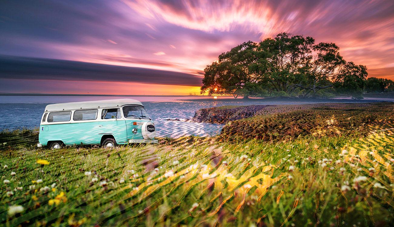 Vintage VW Camper Van Road Trip 08 - stock photos and royalty-free images