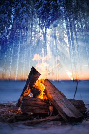 Wintery Wood Fire 01 - stock photos and royalty-free images