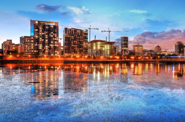 2020 Colorful Downtown Montreal Cityscape at Sunset - stock photos and royalty-free images