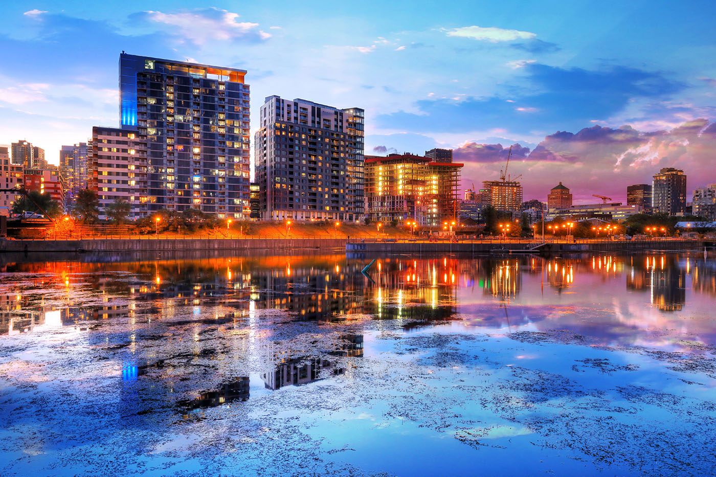 2020 Downtown Montreal City Water Reflection at Sunset - stock photos and royalty-free images