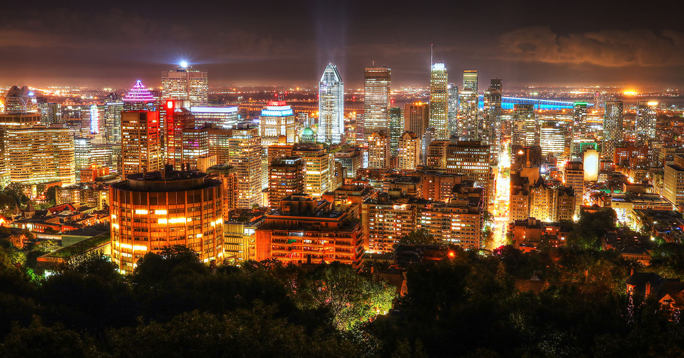 2020 Montreal City Sight at Night From Mount Royal Lookout - stock photos and royalty-free images
