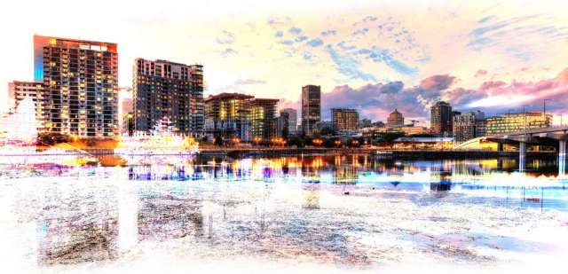 2020 Montreal Cityscape with Colorful Special Effect - stock photos and royalty-free images