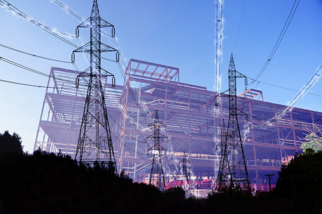 Construction Industry Electrification in Blue - stock photos and royalty-free images