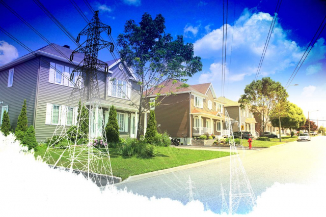 Residential Street Electrification on White - stock photos and royalty-free images
