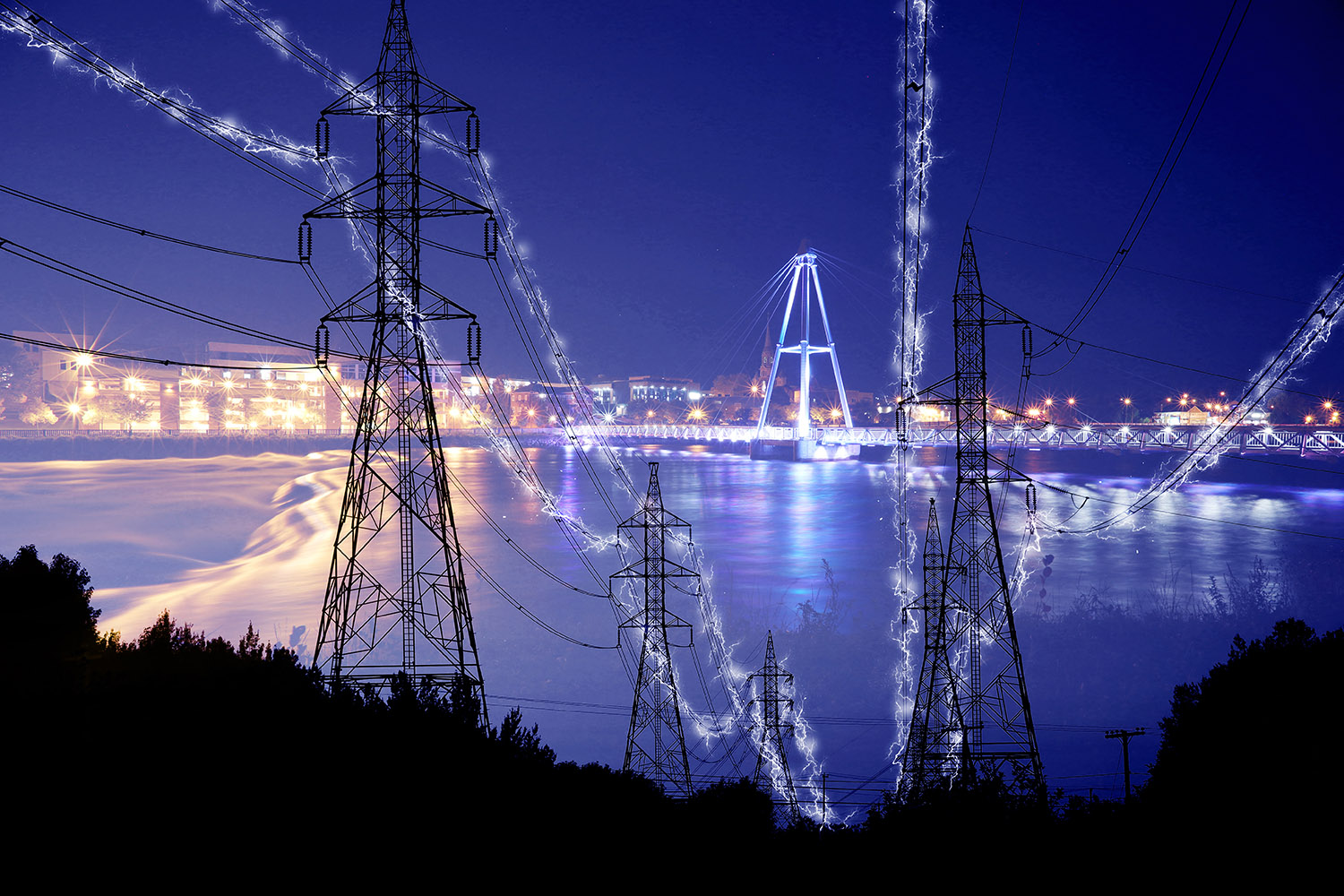 Small Town Electrification at Night in Blue - stock photos and royalty-free images