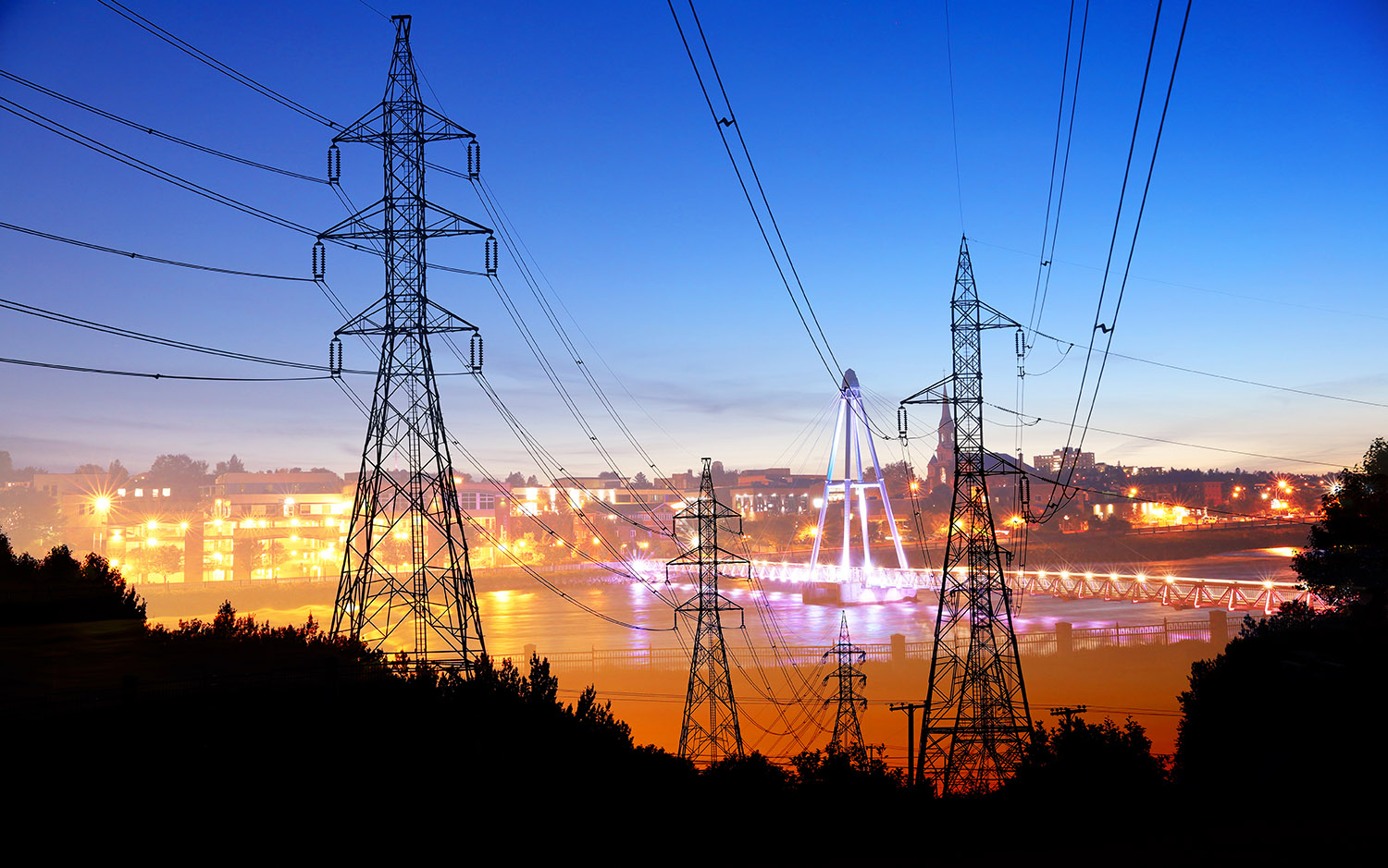 Small Town Electrification at Sunset - stock photos and royalty-free images