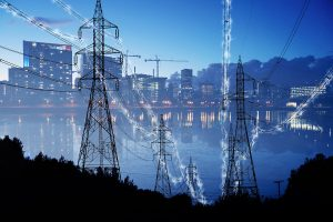 Urban Electrification Concept in Blue - stock photos and royalty-free images